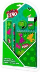 Kids Licensing schrijfset Crazy Dino 25 x 13,8 cm groen 5-delig