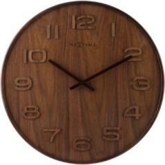 Wandklok NeXtime dia. 53 x 3 cm, hout, bruin, 'Wood Wood Big'