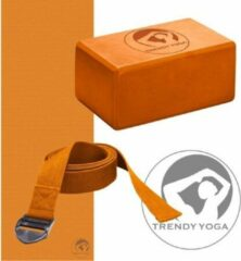 Trendy Sport - Yoga set - (Yogamat + Yogablok 10 cm h + Yogariem) - Oranje