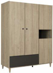 Antraciet-grijze Gamillo Furniture Kledingkast Axel 195 cm hoog in kastanje met antracietgrijs