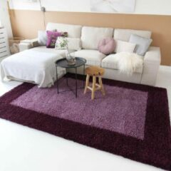 Tapeso Hoogpolig vloerkleed shaggy Trend lijstmotief - paars 300x400 cm