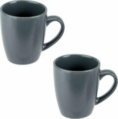 Bellatio Decorations 6x Grijze mokken / bekers 360 ml - Theebeker / koffiemok van aardewerk grijs - 360 ml - Grijze beker / mok - Grijs servies