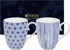 Blauwe Tokyo Design Studio Nippon Blue Set van 2 Mokken 380 ml. In fraaie Geschenkdoos
