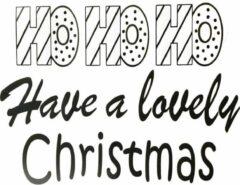 't Zinkhuysje Muur/raamsticker - kerst - hohoho have a lovely Christmas - zwart - set van 2 stuks