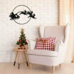 Zwarte Arrenslee met rendieren - Kerst decoratie - Metalen wanddecoratie - Drart - 60cmx50cm