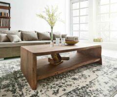 DELIFE Salontafel Live-Edge Acacia bruin tafel met boomrand boomtafel 130x60 cm