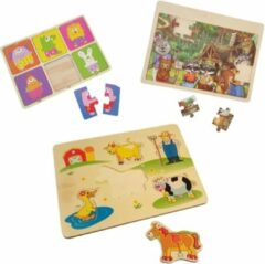 Playwood houten legpuzzel Boerderij- pastel dieren en dieren in het bos u krijgt 3 assorti geleverd.