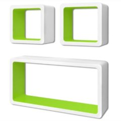 VidaXL Wandplanken kubus MDF zwevend opbergruimte boeken/dvd 3 st wit-groen