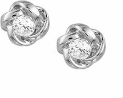 The Jewelry Collection TFT Oorknoppen Bloem En Zirkonia Zilver Gerhodineerd Glanzend