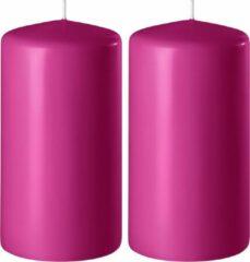 Enlightening Candles 2x Fuchsia roze cilinderkaarsen/stompkaarsen 6 x 8 cm 27 branduren - Geurloze kaarsen fuchsia roze - Woondecoraties