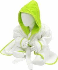 ARTG Babiezz® Baby Badjas met Capuchon Wit - Limoen Groen - Maat 68-74