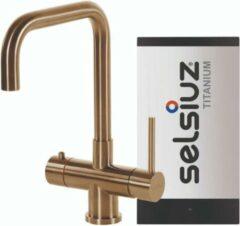 Selsiuz Inox kokend water kraan met titanium single boiler en U-uitloopkraan gold