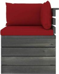 Rode VidaXL Tuinbank 4-zits met kussens pallet massief grenenhout