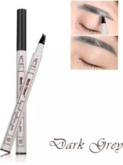 Donkergrijze Dermarolling Music Flower Waterproof Liquid Eyebrow Pen - 03 Dark Grey