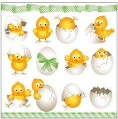 Ambiente 20x Pasen thema servetten kuikentjes 33 x 33 cm - Paasontbijt tafeldecoratie papieren wegwerp servetjes - Pasen versieringen/decoraties