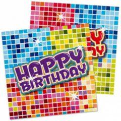 Folat 48x Happy birthday themafeest servetten 25 x 25 cm papier - Verjaardag papieren wegwerp tafeldecoraties