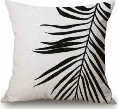 Naturelkleurige Moodadventures Kussenhoes Palmblad Zwart Wit   Vierkante Kussenhoes   Met rits