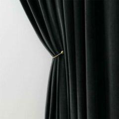 LW collection Gordijnen Zwart Velvet Kant en klaar 290x245cm - Kant en klare gordijnen met ringen Velours - Fluwelen Verduisterende gordijnen