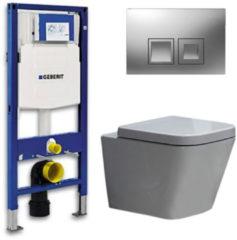 Douche Concurrent Geberit UP 100 Toiletset - Inbouw WC Hangtoilet Wandcloset - Alexandria Delta 50 Mat Chroom