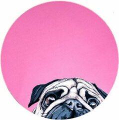Moodadventures | Muismatten | Muismat Mopshondje Roze Rond | 20 x 20 cm.