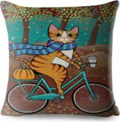 Turquoise River of Things Kussenhoes kat op een fiets. Grappige kat kussensloop/kussenhoes 45x45
