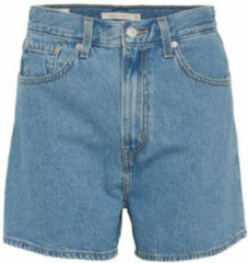 Levi's - Losvallende denim short met hoge taille in blauw met medium wassing