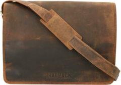 Leather Design The Rat Pack A4 Messenger Schoudertas met Overslag 17'' Liam Bruin