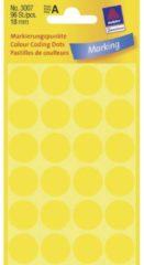 Avery-Zweckform 3007 Etiketten à 18 mm Papier Geel 96 stuk(s) Permanent Etiketten voor markeringspunten