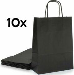 PrimeAmbition Kraft Papieren Tasjes Met Handvat – 10 Stuks – Zwart – 18 x 8 x 24 cm – Papieren Zakjes - Gift Bag – Geschenktas – Cadeautasjes – Cadeauzakjes – Cadeau Tas