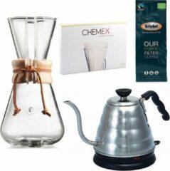 Chemex Coffeemaker slow coffee starter kit 3-Kops + Hario Buono Elektrische Waterkoker
