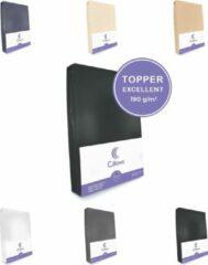 Cillows Excellent Jersey Hoeslaken voor Topper - 90x200 cm - (tot 5/12 cm hoogte) – Zwart