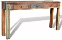 Bruine VidaXL Bijzettafel met drie lades van gerecycled hout