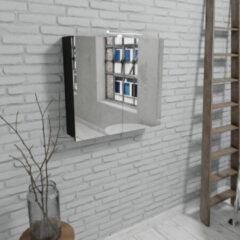 Zaro Beam mat zwarte spiegelkast 80x70x16cm 2 deuren
