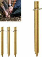 Gouden Relaxdays tentharingen set - 4 stuks - staal - haringen - grondpen - t-vormig - haring