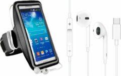 Witte DrPhone SPO1 – Reflecterende Sportarmband L 5.8 inch - USB-C Oordopjes – Microfoon – TYPE-C Oordoppen