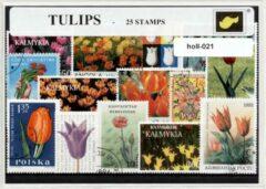 Transparante KLOMP G.T.P Tulpen - postzegelpakket cadeau met 25 verschillende postzegels