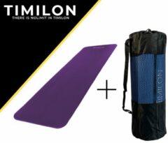 Timilon® fitness mat - yoga mat - 180 x 61 x 1,5cm - inclusief draagriem - paars
