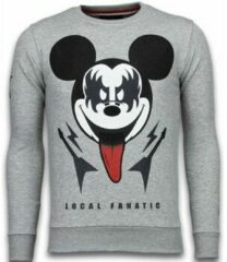 Local Fanatic Kiss My Mickey - Rhinestone Sweater - Grijs Sweaters / Crewnecks Heren Sweater Maat XL