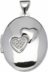 Best Basics Classics&More medaillon - zilver - 24 x 17 mm - ovaal - harten - zirkonia - gerodineerd