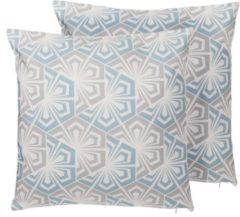 Blauwe Beliani Primrose Decokussen Polyester 45 X 45 Cm