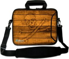 Bruine False Sleevy 17,3 laptoptas piraten - laptophoes voorvak - laptop sleeve - smalle laptoptas - reistas - schoudertas - schooltas - heren dames tas - tas laptop