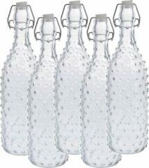 Zeller 5x Glazen flessen transparant stippen met beugeldop 1000 ml - Keukenbenodigdheden - Woondecoratie - Tafel dekken - Koude dranken serveren/bewaren - Olie/azijn flessen - Decoratie flessen
