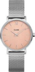 CLUSE Horloges Minuit Mesh Silver Plated Rose Gold Roségoudkleurig