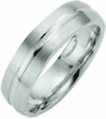 Zilveren Kiss Me ring zilver mat met hoogglans lijn KM139 maat 56