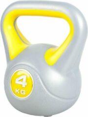 Gorilla Sports Kettlebell 4 kg Kunststof Trendy (grijs/geel)