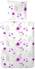 Mikrofaser Seersucker Bettwäsche Flowers lila Hahn lila