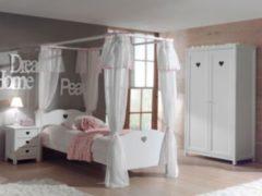 Vipack Furniture Vipack 4tlg. Set Amori mit Himmelbett inkl. Vorhang, Nachtkommode & Kleiderschrank 2trg.