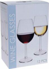 Transparante Merkloos / Sans marque Wijnglazen set rode en witte wijn 12 stuks