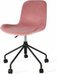 Roze Nolon Nout bureaustoel zwart - Velvet zitting dusty pink