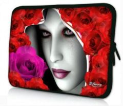 Rode Sleevy 17,3 laptophoes mysterieuze vrouw - laptop sleeve - laptopcover - Collectie 250+ designs